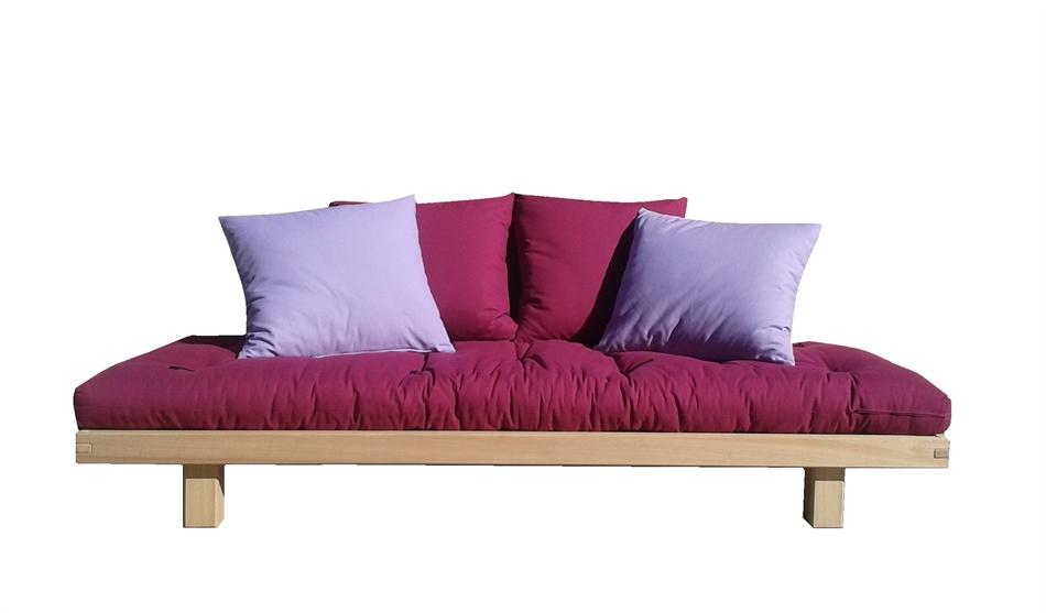 Divano letto in legno artigianale con futon bio wood vivere zen - Divano letto doghe in legno ...
