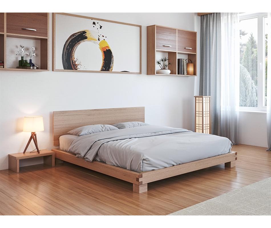 Letto in legno artigianale - Hiro (con testata) - Vivere Zen