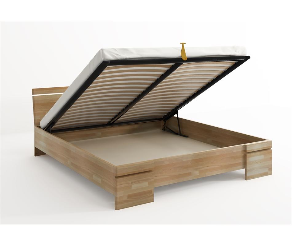 Letto in legno sparta in faggio con contenitore vivere zen for Letto in legno con contenitore