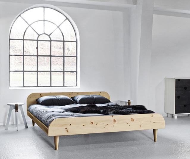 Letto in legno twist naturale con testiera vivere zen - Testiera letto legno ...