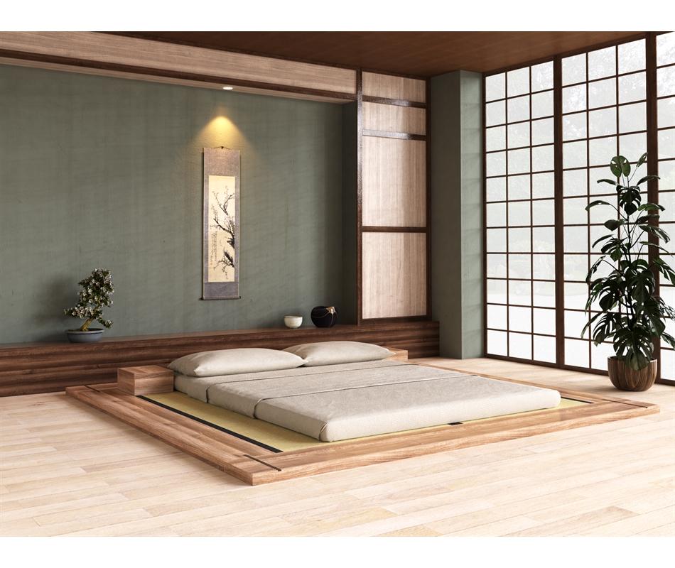 Letto tatami giapponese artigianale in legno massello for Legno giapponese