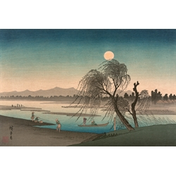 Stampa Giapponese - Hiroshige, Luna d' Autunno sul Fiume Tama