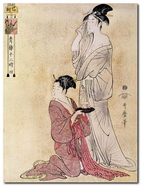 Stampa Giapponese - Utamaro, Donna al bagno aiutata dalla servitrice ...