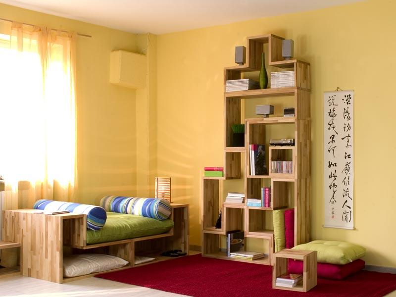 Composiz pronta libreria tetris in paulonia vivere zen - Divano quadrato ...