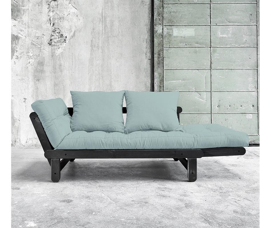 Divano letto futon beat nero zen pino scandinavo for Divano letto nero