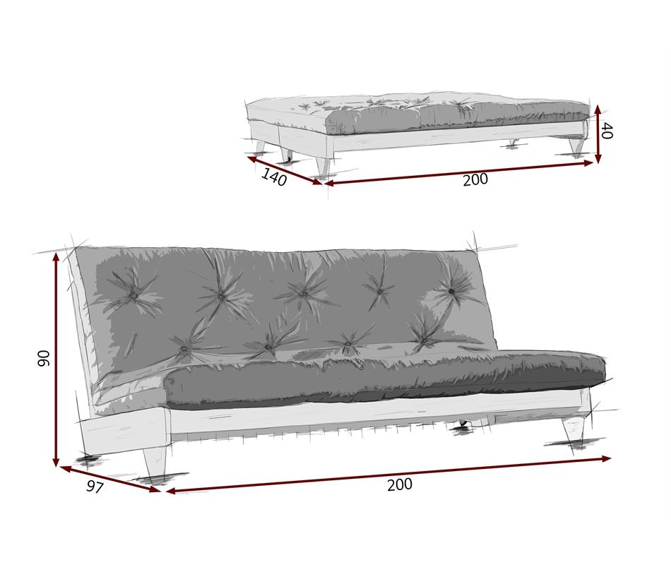 Divano letto futon Fresh Naturale - Zen