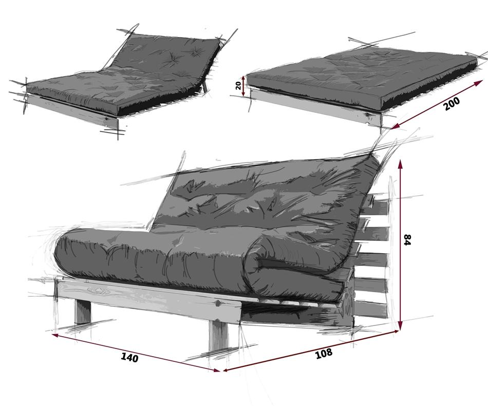 Divano letto futon roots zen vivere zen for Divano letto misure ridotte