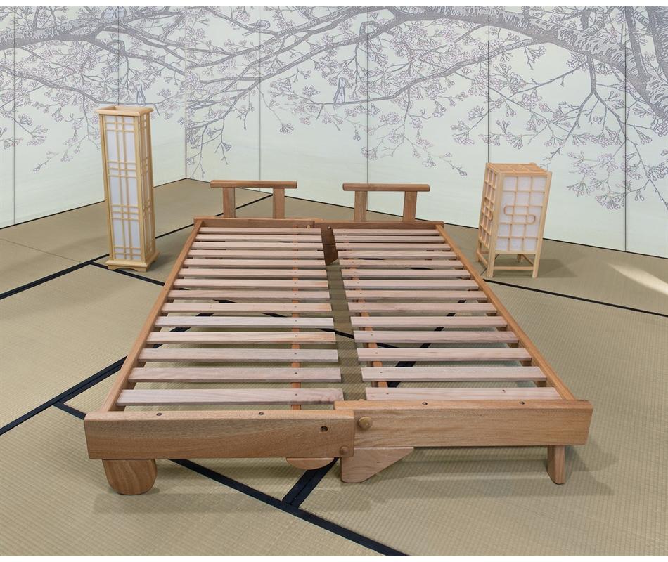 Divano letto in legno artigianale con futon salice vivere zen - Divano letto fai da te ...
