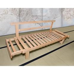 Divano letto in legno artigianale con futon sesamo 3 posti vivere zen - Divano letto futon ...