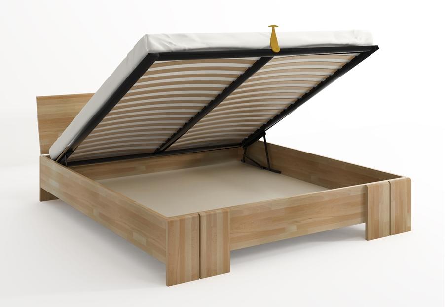 Letto Vestre, in legno di Faggio, disponibile con cassetti o contenitore