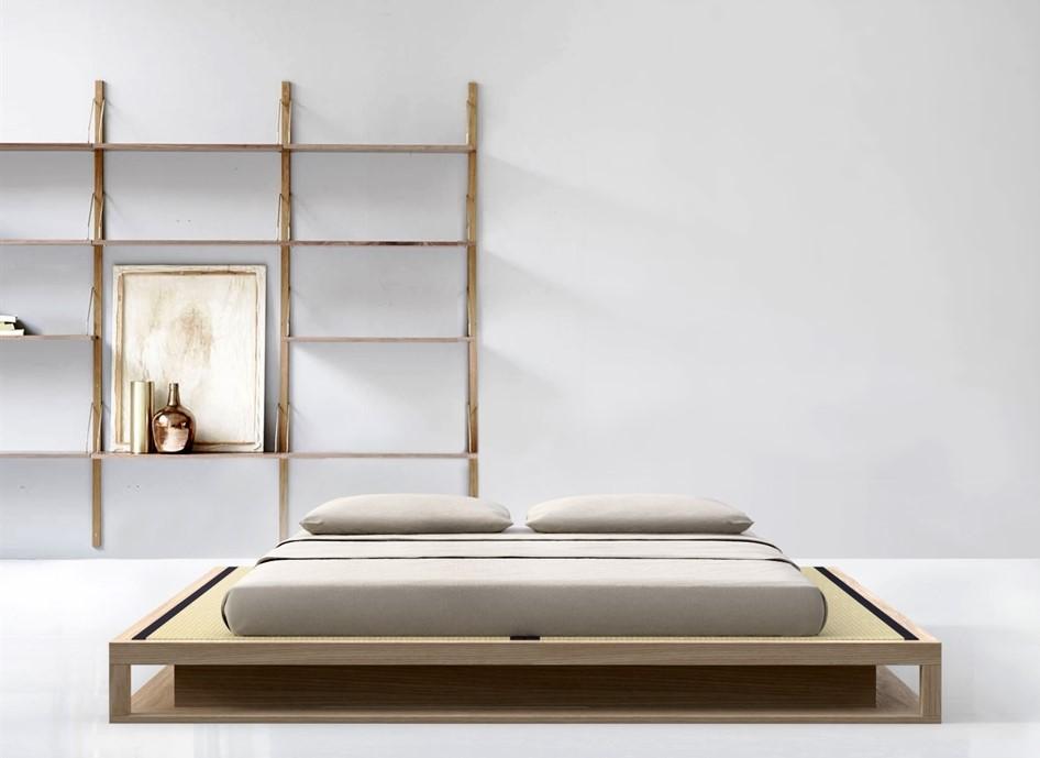 letto in legno massiccio artigianale Shiro Tami