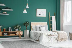 Camera da letto verde
